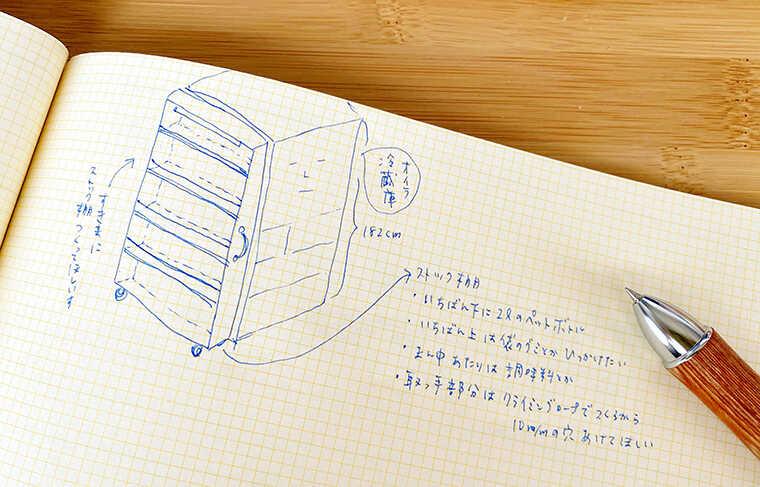 冷蔵庫の隙間ストッカーのデザインラフ案画像