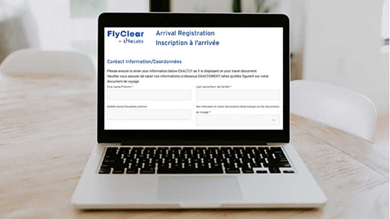 2021コロナ禍でのカナダ留学空港編_FlyClear登録画面画像